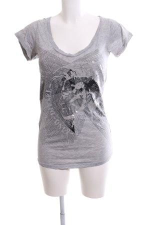 Diesel Print-Shirt schwarz-hellgrau meliert Casual-Look