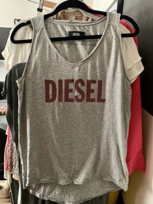 Diesel Basic topje lichtgrijs-karmijn