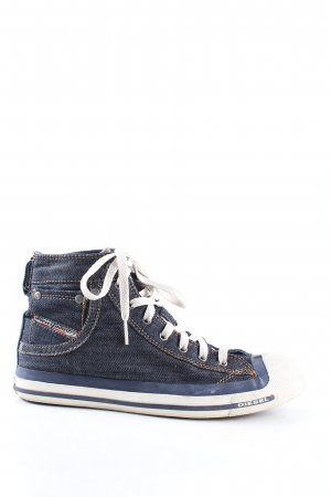 Diesel Sneakers met veters blauw-wit casual uitstraling