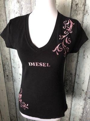 Diesel T-shirt col en V noir-rose