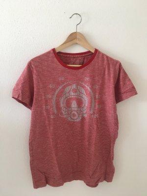 Diesel Shirt T-Shirt Oberteil Top rot grau tauchen Taucher Maske offwhite Ringel geringelt Streifen gestreift boyfriend gerade weit geschnitten Medium 38