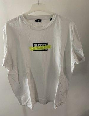 Diesel Shirt weiß  Aufdruck neon gelb Reflektor t-Shirt top