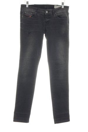 Diesel Skinny Jeans schwarz-hellgrau Biker-Look