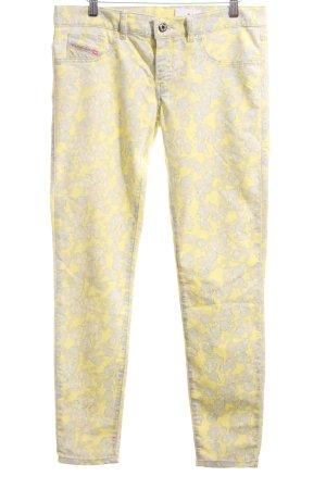 Diesel Slim Jeans blassgelb-wollweiß Allover-Druck Casual-Look