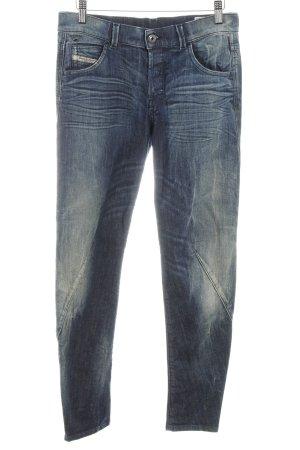 Diesel Slim Jeans dunkelblau Logo-Applikation aus Leder