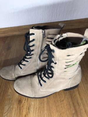 Diesel Lace-up Booties light grey-oatmeal