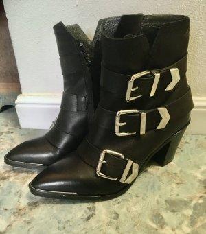 Diesel Stiefeletten Gr. 37 Schwarz Leder ankle boots Stiefel