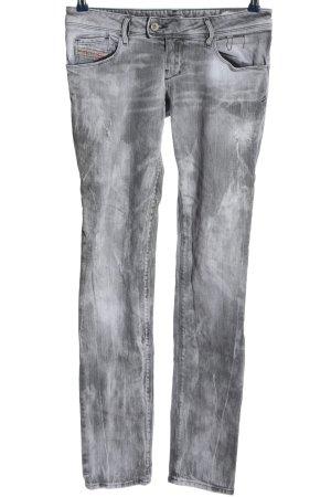 Diesel Straight-Leg Jeans hellgrau abstraktes Muster Casual-Look