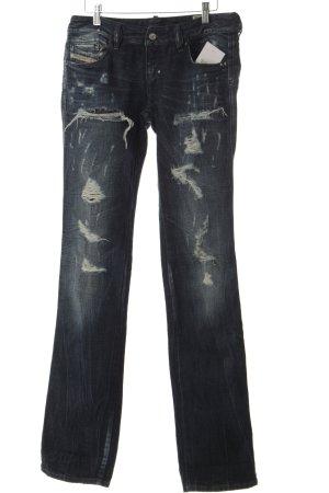 Diesel Straight-Leg Jeans dunkelblau-wollweiß Logo-Applikation aus Leder