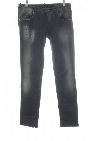 Diesel Stretch Jeans anthrazit-hellgrau Logo-Applikation aus Leder