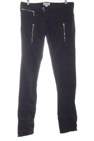 Diesel Pantalón elástico negro Botones de metal