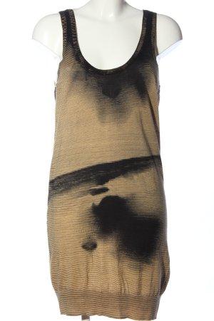 Diesel Strickkleid hellorange-schwarz Streifenmuster Casual-Look