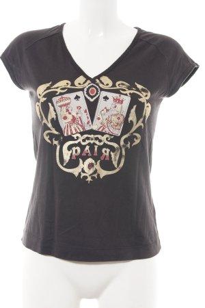 Diesel T-Shirt schwarz-creme Motivdruck Casual-Look