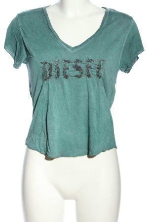 Diesel T-Shirt grün Schriftzug gedruckt Casual-Look