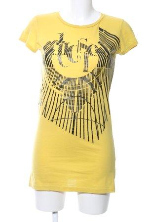 Diesel T-Shirt blassgelb-schwarz Motivdruck Casual-Look