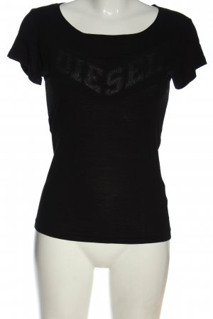 Diesel T-Shirt schwarz Schriftzug gedruckt Casual-Look