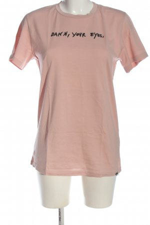 Diesel T-Shirt pink-schwarz Motivdruck Casual-Look