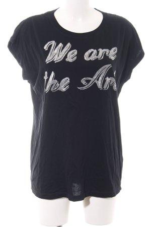 Diesel T-Shirt schwarz-silberfarben Schriftzug gedruckt Casual-Look