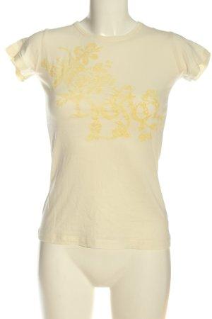 Diesel T-Shirt wollweiß-blassgelb Motivdruck Casual-Look