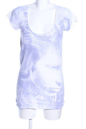 Diesel T-Shirt blau-weiß abstraktes Muster Casual-Look