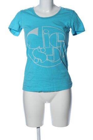 Diesel T-Shirt blau-wollweiß Motivdruck Casual-Look