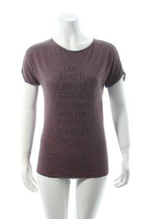 Diesel T-Shirt braunviolett Schriftzug gedruckt Casual-Look