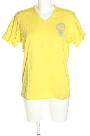 Diesel T-Shirt blassgelb-hellgrau Motivdruck Casual-Look