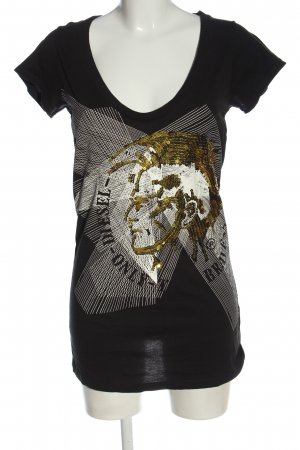 Diesel T-Shirt schwarz-weiß abstraktes Muster Casual-Look