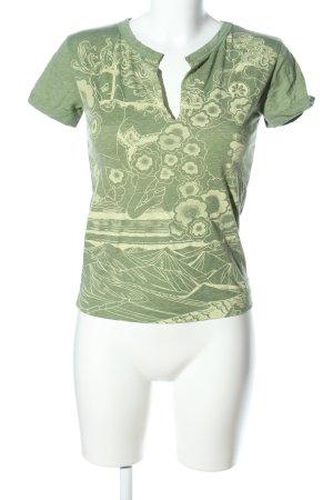 Diesel T-Shirt grün-creme Blumenmuster Casual-Look