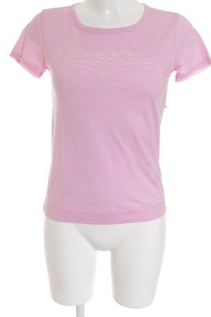 Diesel T-Shirt rosa-hellrosa Schriftzug gestickt sportlicher Stil