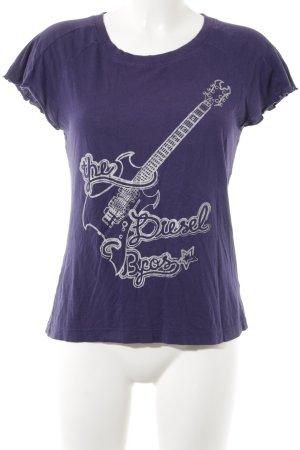 Diesel T-Shirt silberfarben-lila Motivdruck Casual-Look