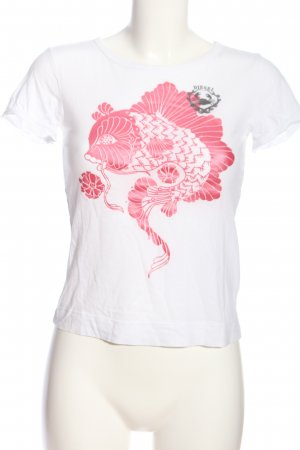 Diesel T-Shirt weiß-pink Motivdruck Casual-Look