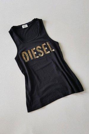 Diesel Tanktop Shirt - Schwarz Gold mit Pailletten Verzierung