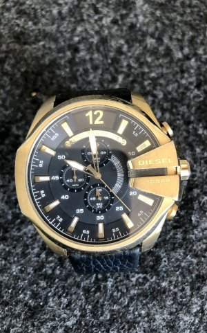 Diesel Horloge met lederen riempje zwart-goud