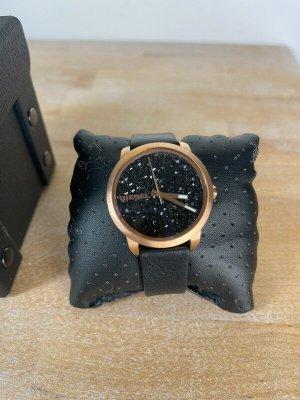 Diesel Zegarek ze skórzanym paskiem w kolorze różowego złota-czarny Skóra