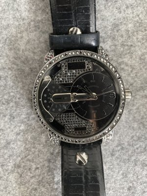 Diesel Zegarek ze skórzanym paskiem czarny-srebrny