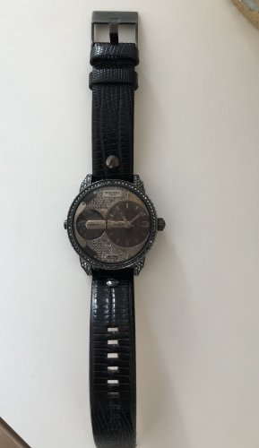 Diesel Watch With Leather Strap black-silver-colored