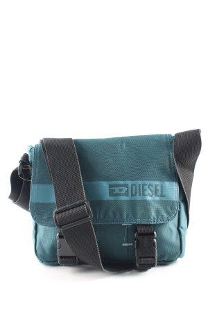 Diesel Umhängetasche blau-schwarz Schriftzug gedruckt Casual-Look