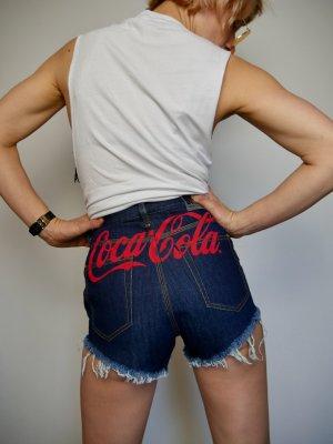 Diesel Short en jean bleu fluo-rouge coton