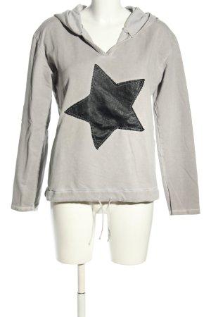 diff Kapuzensweatshirt hellgrau-schwarz Motivdruck Casual-Look
