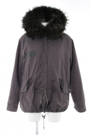 Different Winterjacke lila Motivdruck Casual-Look