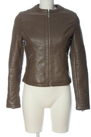 Different Veste en cuir synthétique brun style décontracté