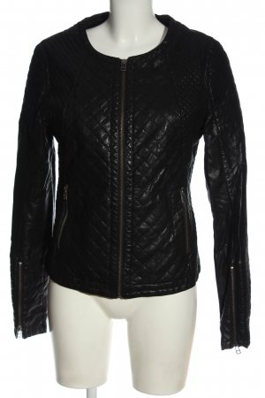 Different Faux Leather Jacket black quilting pattern casual look