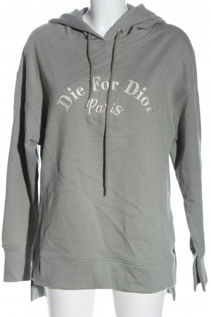 Dilvin Hooded Sweatshirt light grey-white embroidered lettering casual look