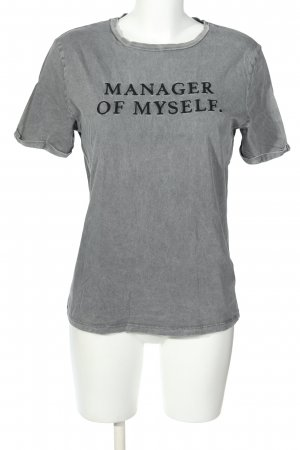 Dilvin T-Shirt light grey-black printed lettering casual look