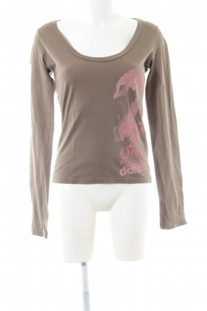 Dimensione Danza Longsleeve taupe Motivdruck Business-Look