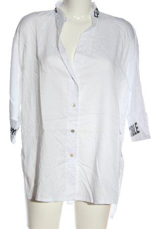 Dine 'n' Dance Long Sleeve Shirt white-black printed lettering casual look