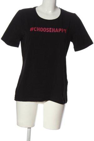 Dine 'n' Dance T-Shirt black-pink printed lettering casual look