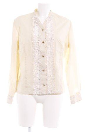Diolen Langarm-Bluse blassgelb-weiß Lochstrickmuster Casual-Look