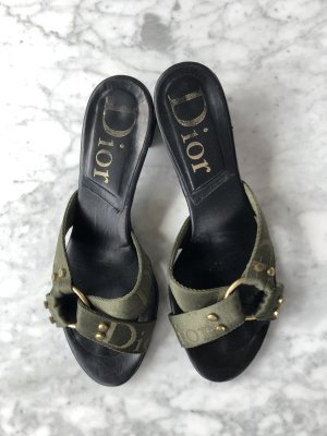 Dior Heel Pantolettes olive green linen